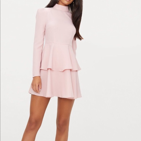 PrettyLittleThing Dresses & Skirts - Pink high neck skater dress
